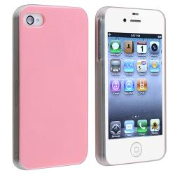 Pink with Clear Side Snap-on Case for Apple iPhone 4/ 4S