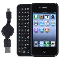 Black/ Silver Sliding Bluetooth Keyboard/ USB Cable for Apple iPhone 4
