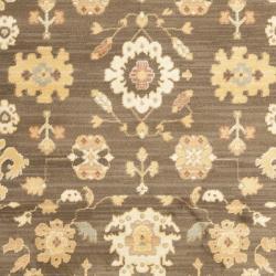 Oushak Brown/ Rust Powerloomed Rug (9'6 x 13')