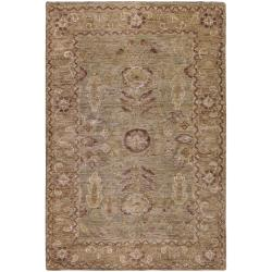Hand-woven Green Traditional Border Hemp Rug (8' x 11')