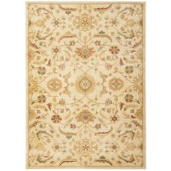 Oushak Cream/ Gold Powerloomed Rug (9'6 x 13')