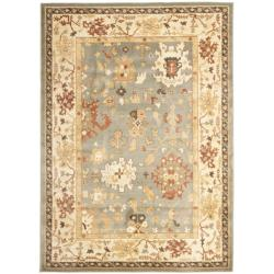 Oushak Blue/ Cream Powerloomed Rug (4' x 5'7)