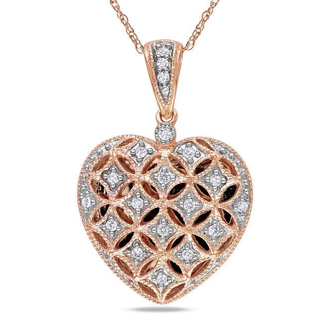 Miadora 10k Pink Gold 1/6ct TDW White Diamond Heart Necklace (G-H, I2-I3)