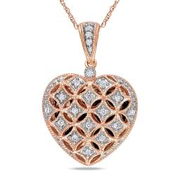 Miadora 10k Pink Gold 1/6ct TDW White Diamond Heart Necklace (G-H, I2-I3)