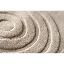 Hand-crafted Ivory Geometric 'Conger' Wool Rug (8' x 11')