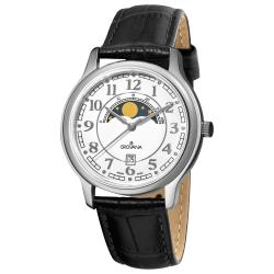 Grovana Men's White Moonphase Dial Black Strap Watch