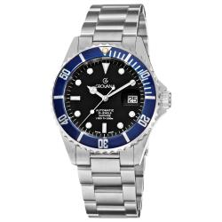Grovana Men's 'Diver' Black Dial Blue Bezel Automatic Watch