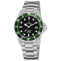 Grovana Men's 'Diver' Black Dial Green Bezel Automatic Watch