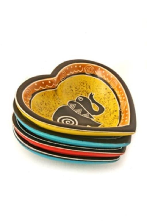 Swirly Soapstone Handmade Decorative Elephant Heart Accent Dish