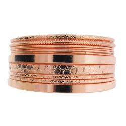 Rosetone Textured Stackable 11-piece Bangle Bracelet Set