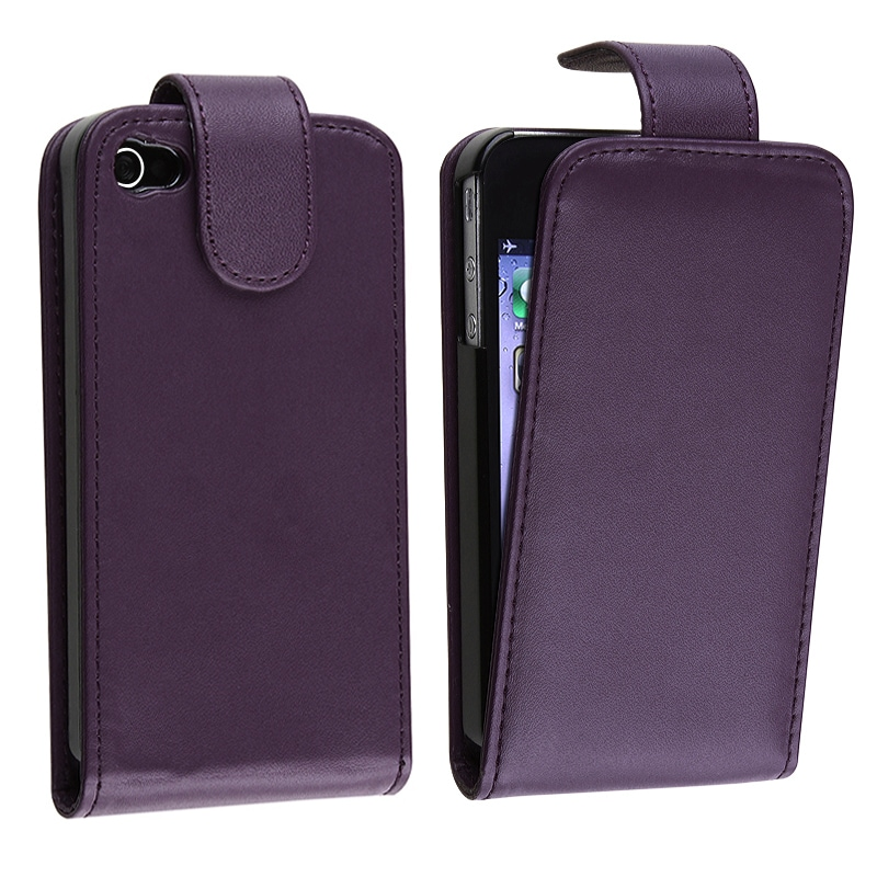 Eforcity Purple Synthetic Leather Case for Apple iPhone 4/4S