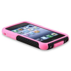 Pink Skin/ Black Mesh Hybrid Case for Apple iPhone 3G/ 3GS