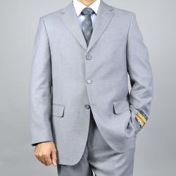 Men's Classic Light Grey 3-button Wool/Silk Blend Suit