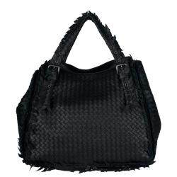 Bottega Veneta Fringed/ Woven Black Leather Tote