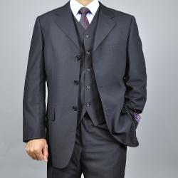 Carlo Lusso Men's Black 3-Button Vested Suit