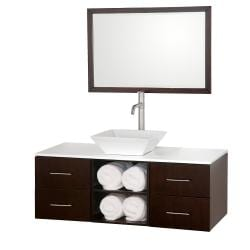 Wyndham Collection Abba Espresso Solid Oak Single 48-inch Bathroom Vanity Set