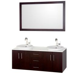 Wyndham Collection Arrano Espresso 55-inch Solid Oak Double Bathroom Vanity Set