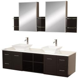 Wyndham Collection Avara Espresso 72-inch Solid Oak Double Bathroom Vanity Set