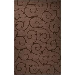 Handcrafted Contemporary Dark Brown Solid Swirl Bristol Wool Rug (9' x 12')