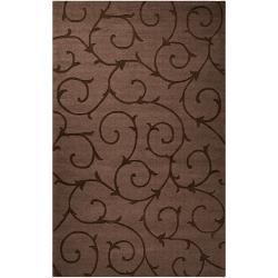 Handcrafted Contemporary Dark Brown Solid Swirl Bristol Wool Rug (9' x 12')