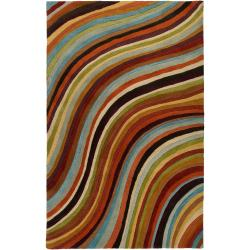 Hand-tufted Contemporary Multi Colored Stripe Furman Wool Abstract Rug (8' x 11')