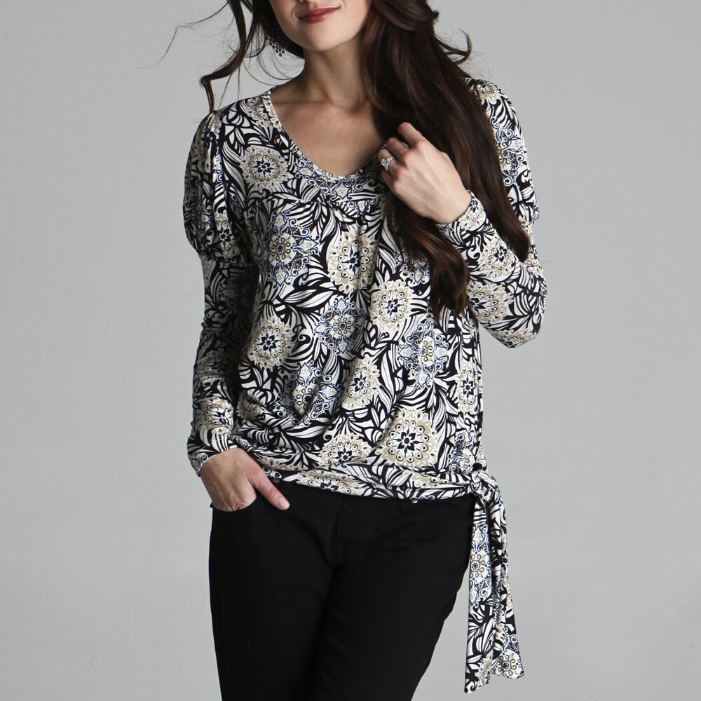 Sulee by Lilac Women's Long-sleeve Side-tie Navy Print Top