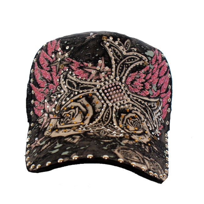 Stephanie Wear Rhinestone Cross Trucker Hat