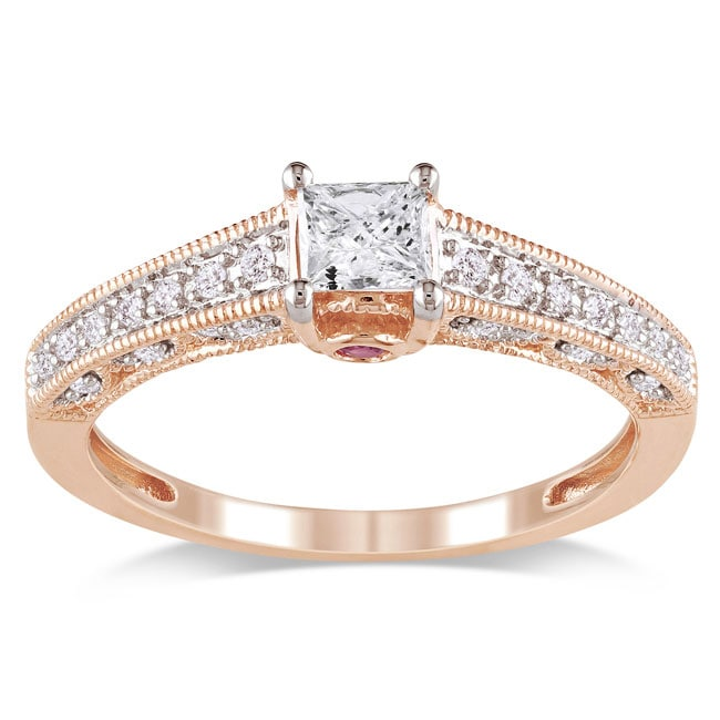 Miadora 10k Pink Gold 1/2ct TDW Diamond and Pink Sapphire Ring (G-H, I1-I2)