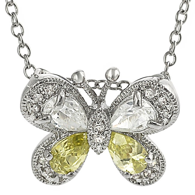 Journee Silvertone Pave-set White and Green CZ Butterfly Necklace