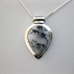 Sterling Silver Dendrite Teardrop Necklace (Thailand)