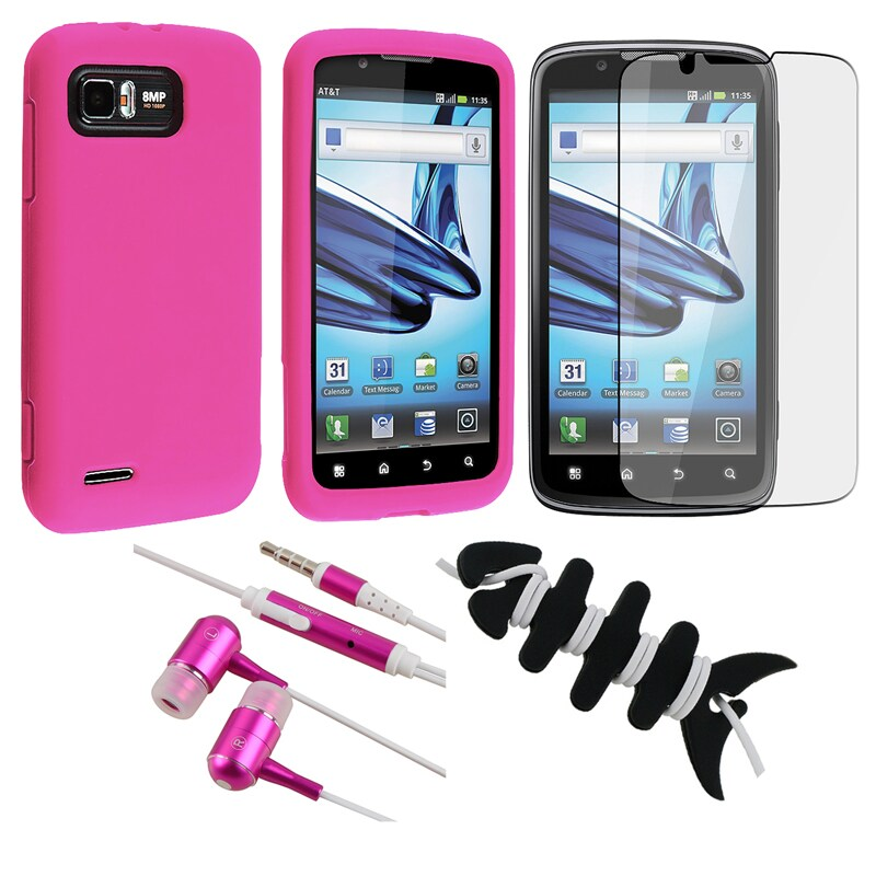 Pink Case/ Screen Protector/ Headset/ Wrap for Motorola Atrix 2 MB865