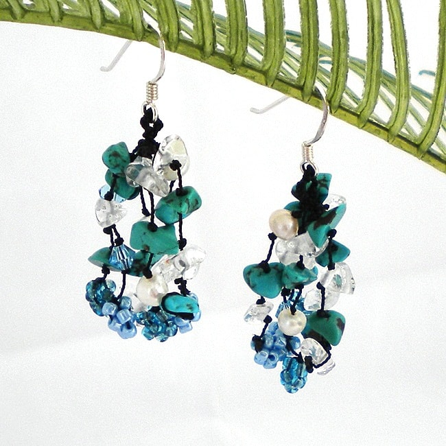 Sterling Silver Turquoise and Pearl 'Blue Melody' Earrings (4-5 mm)(Thailand)