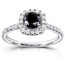 14k Gold 3/4ct TDW Black and White Diamond Halo Ring