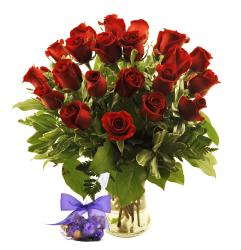 Sweets in Bloom Red Roses with Vase (Two Dozen)