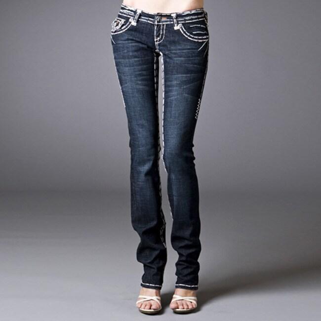 Laguna Beach Jeans Women's 'Long Beach' Double White Stitch Straight Leg Denim Jeans