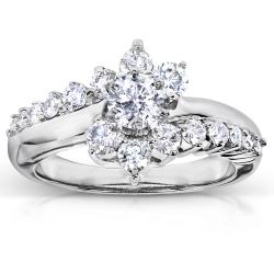 14k White Gold 1ct TDW Floral Diamond Engagement Ring (H-I, I1-I2)
