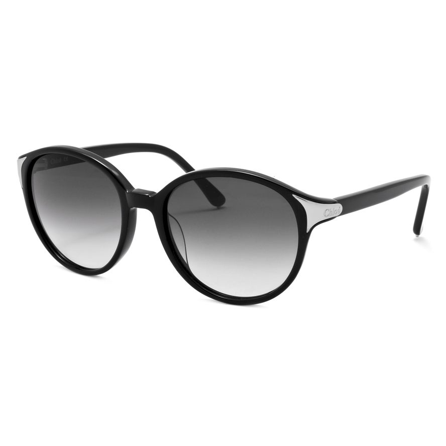 Chloe Women's Black/ Silvertone Fashion Sunglasses