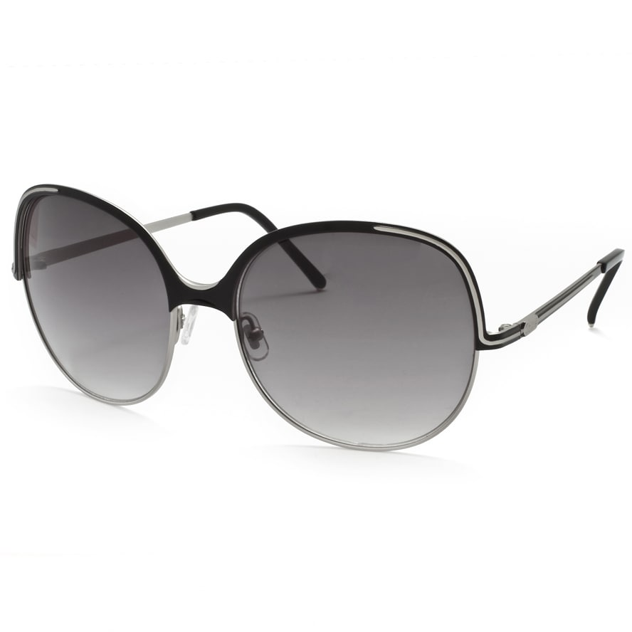Chloe Women's Matte Silver/ Black Fashion Sunglasses