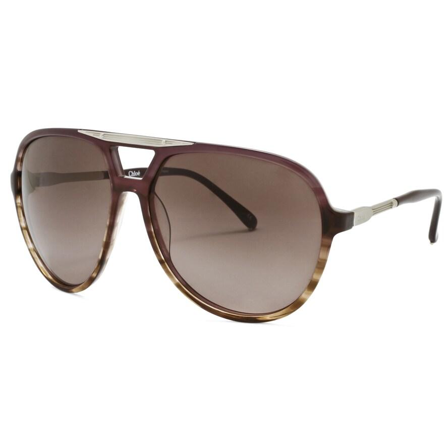 Chloe Women's 'Adonis' Plum Horn Fashion Sunglasses