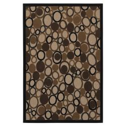 Circles Black Area Rug (5' x 7')