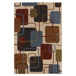 Rectangles Blue/ Multi Rug (5'3 x 7'10)