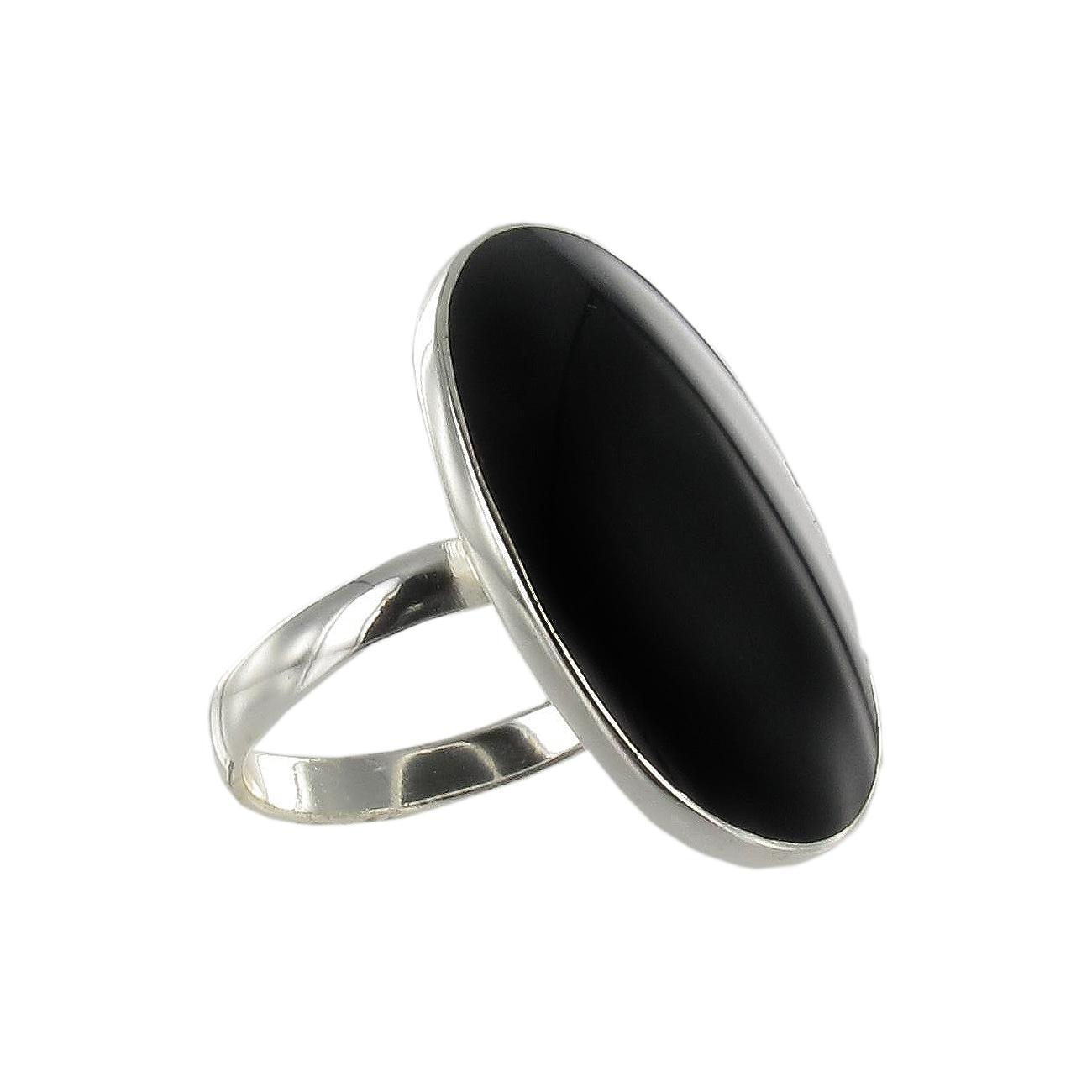 Sunstone Sterling Silver Black Agate Oval Ring