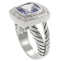 Journee Silvertone Purple and White Cubic Zirconia Ring