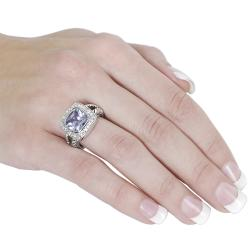 Tressa Silvertone Purple and White Cubic Zirconia Ring