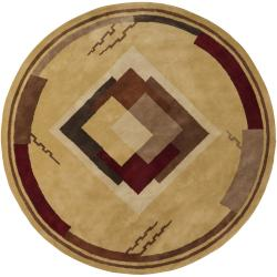 Hand-tufted Mandara Gold Geometric Wool Rug (9' Round)
