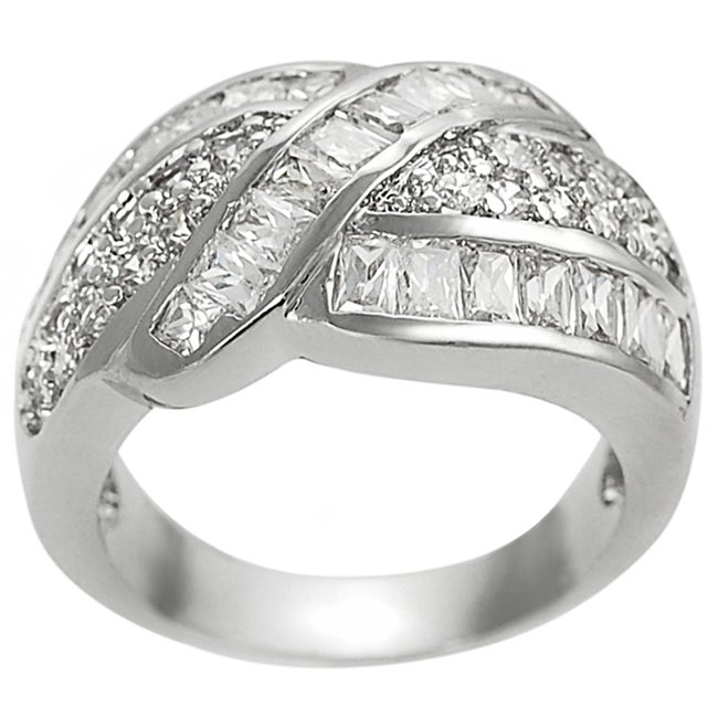 Journee Silvertone Round and Emerald-cut Cubic Zirconia Ring