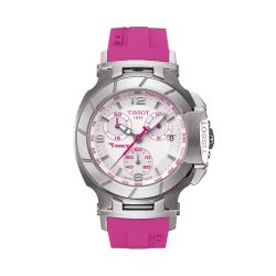 Tissot Women's 'T Race' White Dial Pink Strap Watch