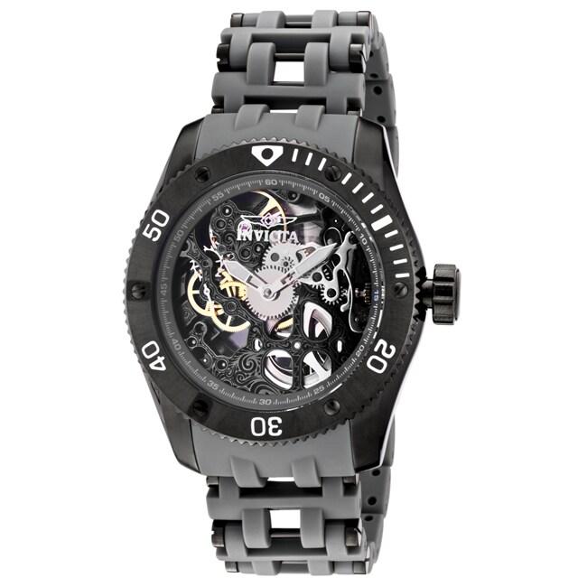 Invicta Men's 'Sea Spider' Black Ion-Plated & Grey Polyurethane Watch