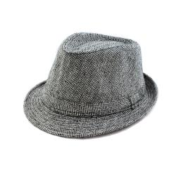 Faddism Black/ White Patterned Fedora Hat