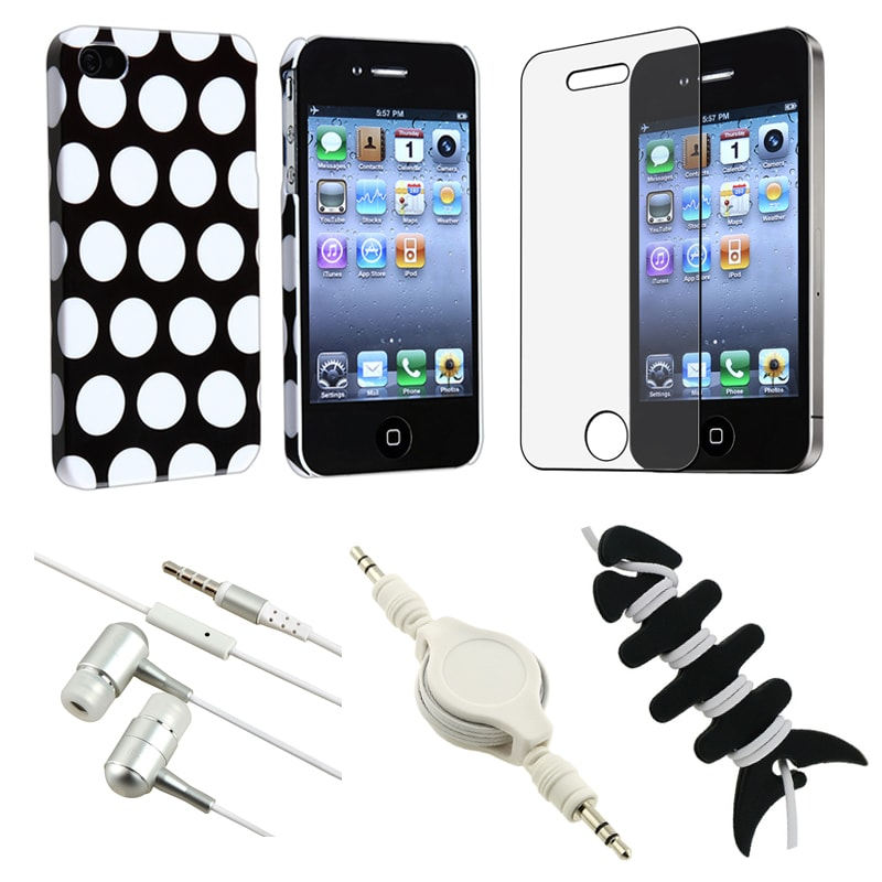 Dot Case/ LCD Protector/ Headset/ Audio Cable for Apple iPhone 4S